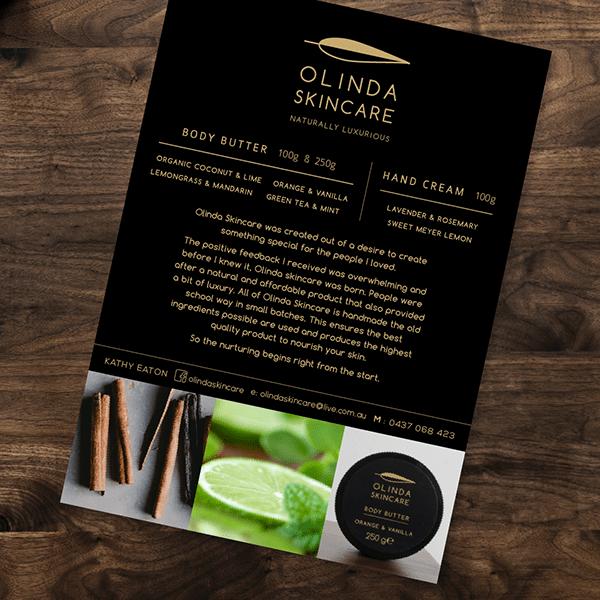 Olinda Skincare Price list design