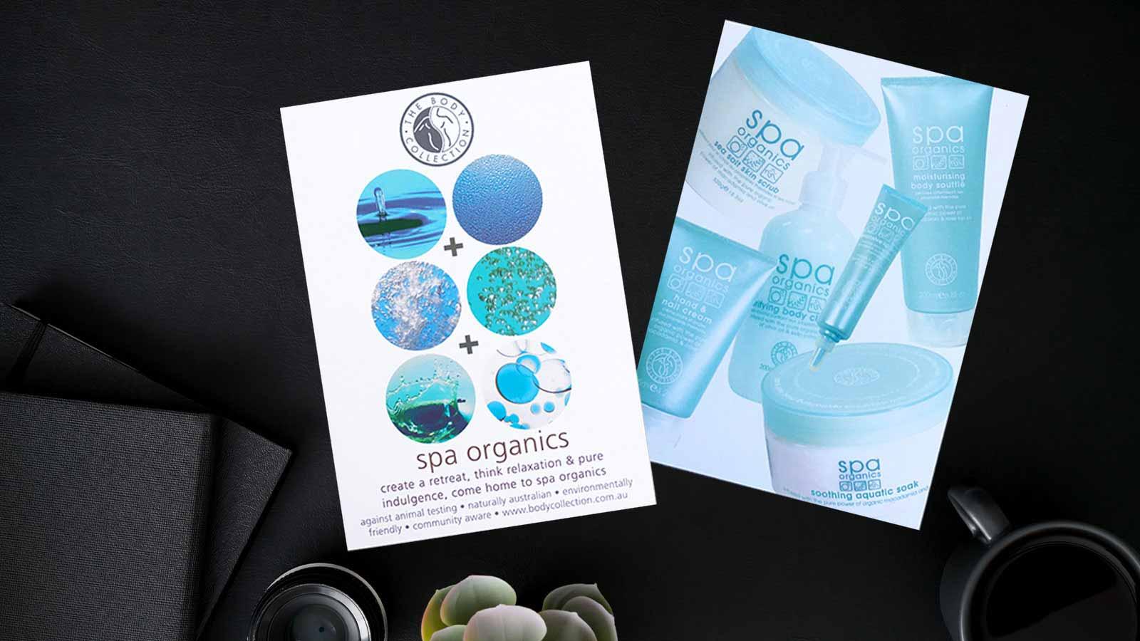 Spa Organics Point of Sale Promo Card Design Melbourne